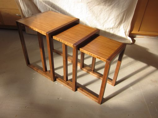 Custom Made Walnut And Bamboo Nesting , End , Side Tables , Mid Century Modern