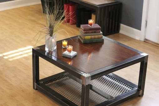 Custom Made Steel And Wood Coffee Table