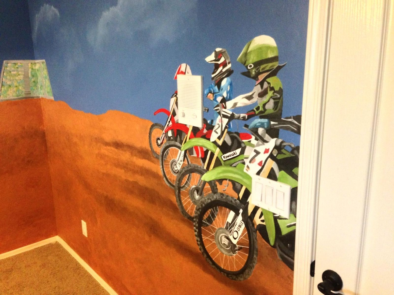 handmade dirtbike room mural by kid murals by dana custommade com