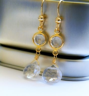 Custom Made White Topaz And Swarovski 14k Gold Filled Earrings