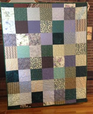 Custom Made Vintage Cotton Fabric Blocked Quilt