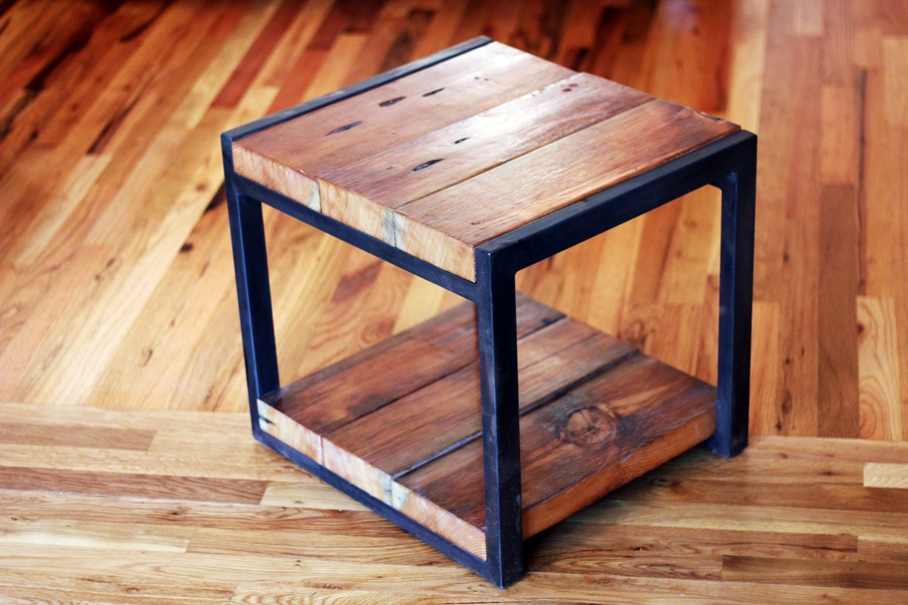 Custom Reclaimed Wood  Steel Side Table by Barreto Studios   CustomMade com. Custom Reclaimed Wood  Steel Side Table by Barreto Studios