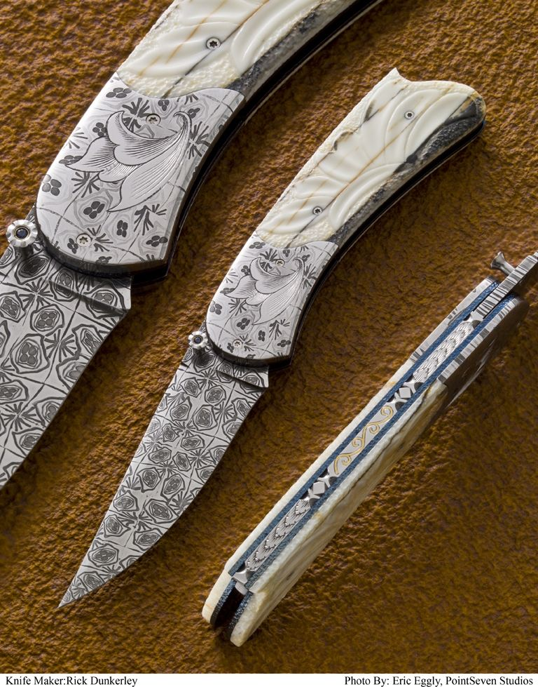 Hand crafted carved damascus folding knife by dunkerley