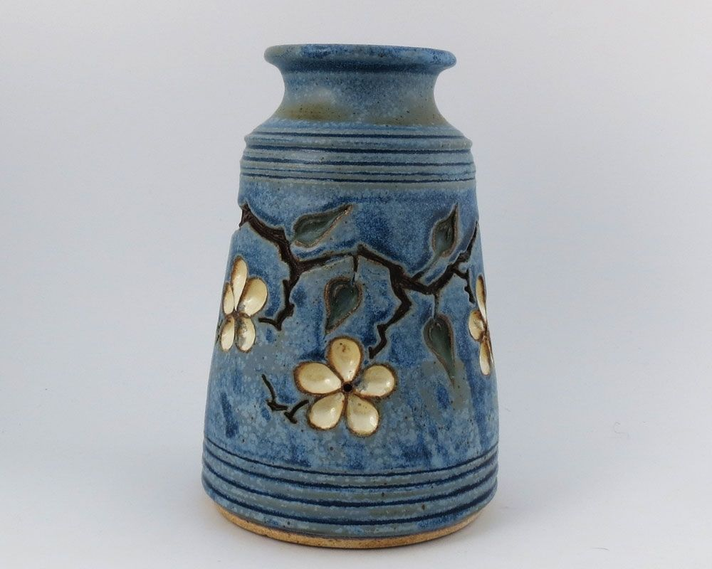 Custom vase with carved cherry blossoms by loma prieta