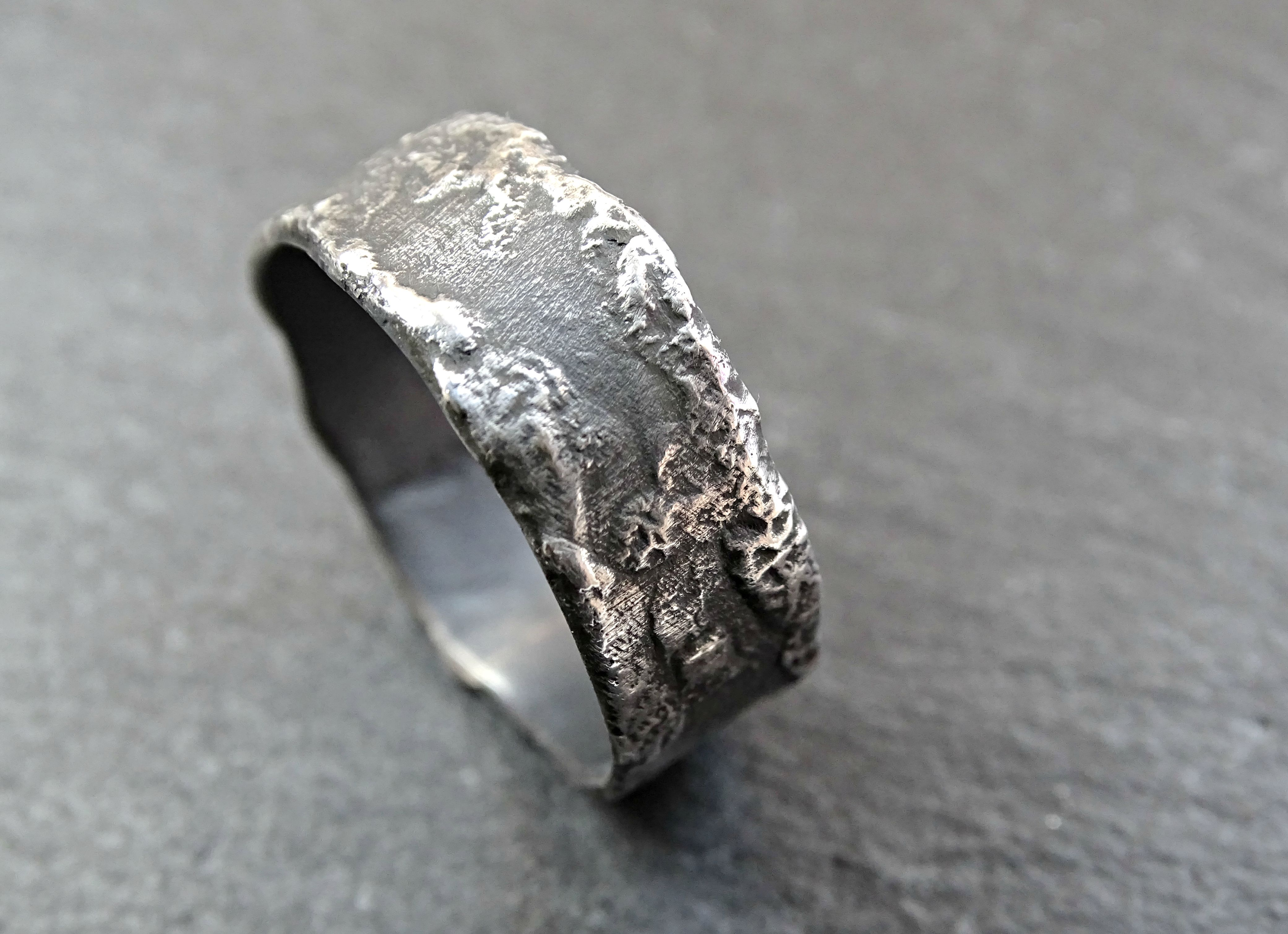 Buy a Hand Crafted Unique Silver Ring Molten Surface Cool Mens