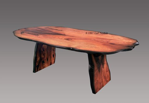 Custom Made Slab Table, Live Edge, Solid Mesquite, Bookmatched