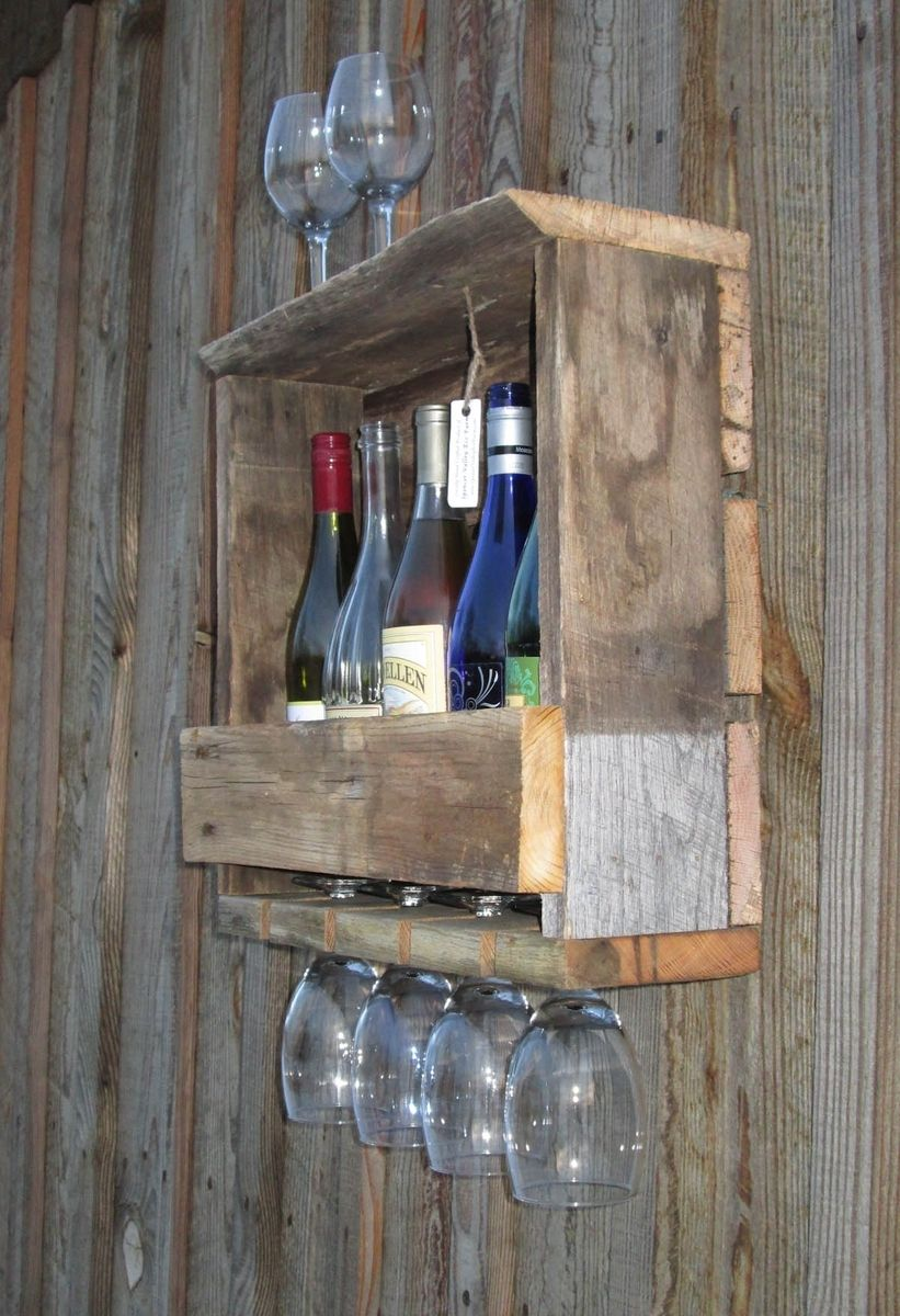 Hand Made Rustic Reclaimed Barn Wood Wine Rack Wall Mount 4 5 Bottle