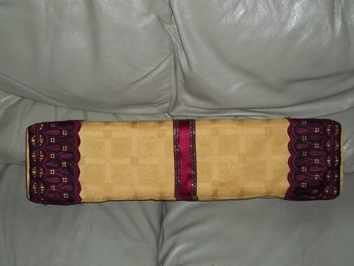Custom Made Pillow Gold Rectangle Accented In Burgundy Lace
