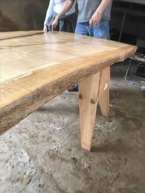 Custom Made Solid Oak Slab Dining Table