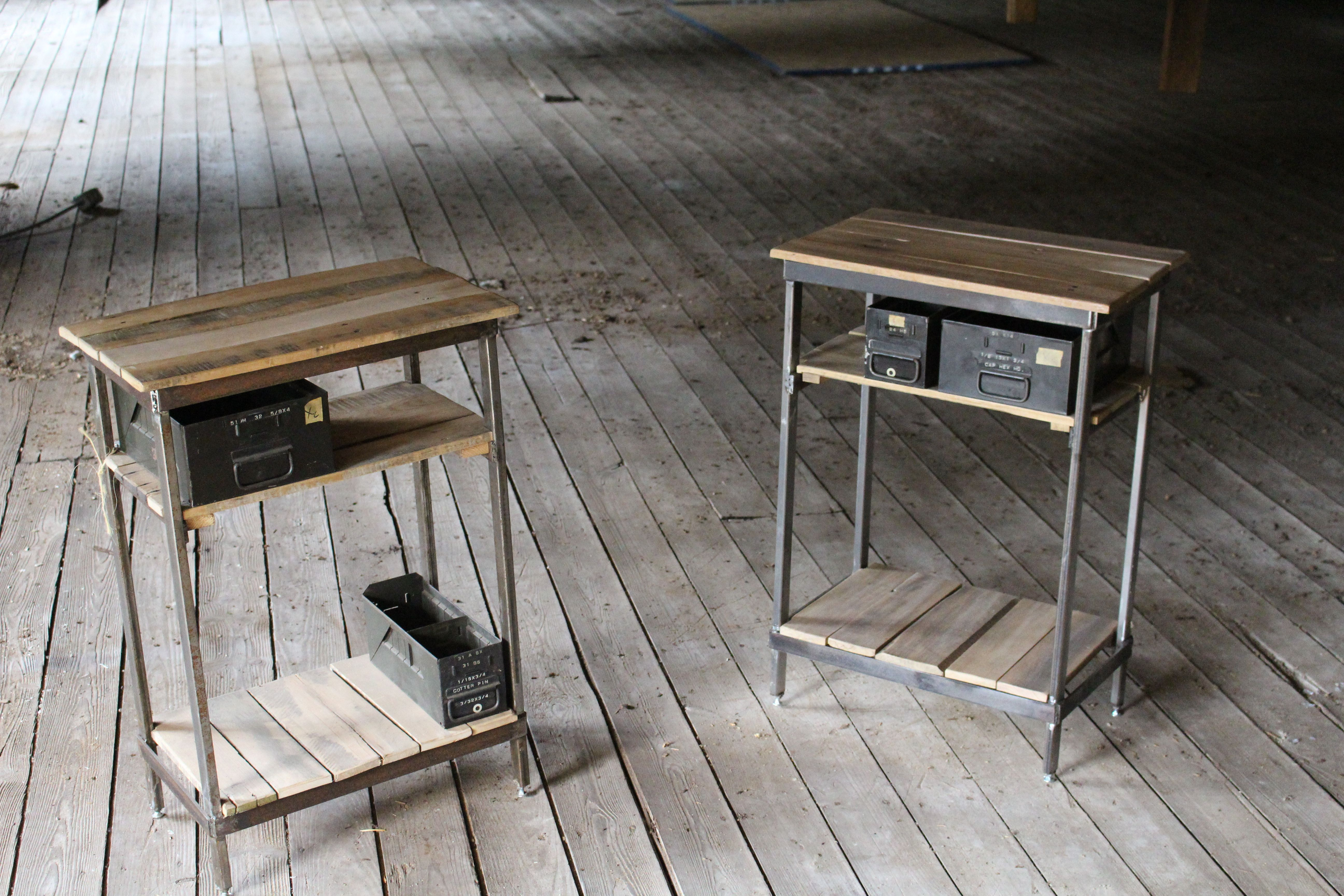 Custom Made Reclaimed Wood And Steel Night Stands With Vintage Metal Storage Drawers
