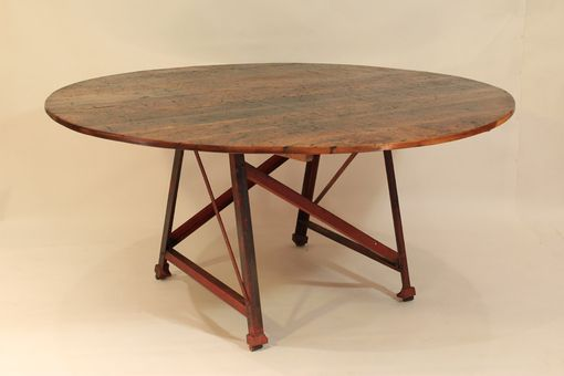 Custom Made Rt-14 Round Table With Metal Factory Base