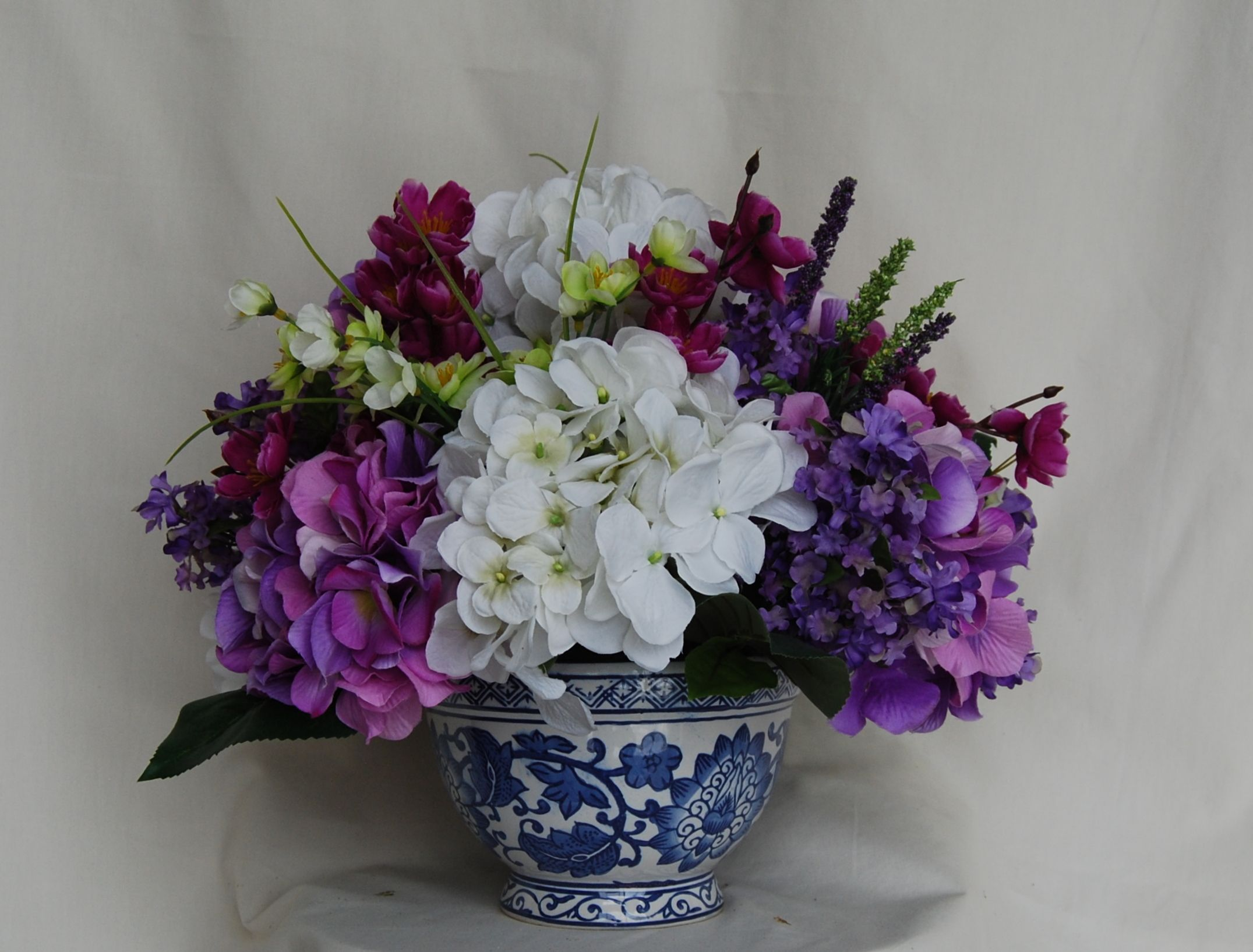 Buy a hand crafted purple and white hydrangea silk floral custom made purple and white hydrangea silk floral arrangement in blue pottery vase mightylinksfo