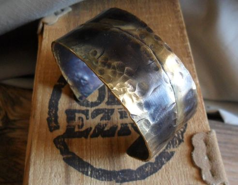 Custom Made Hammered Cuff Bracelet In Solid Nugold