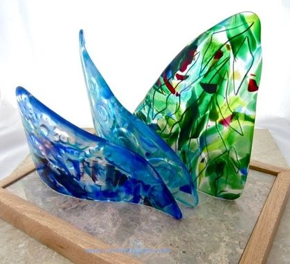 Custom Made Fused Glass Table Sculpture:  Hoe A  Mau - Gazing At Stars