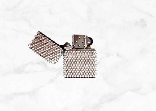 Custom Made Crystallized Zippo Lighter Flip Top Pocket Size Bling Swarovski Crystals Bedazzled