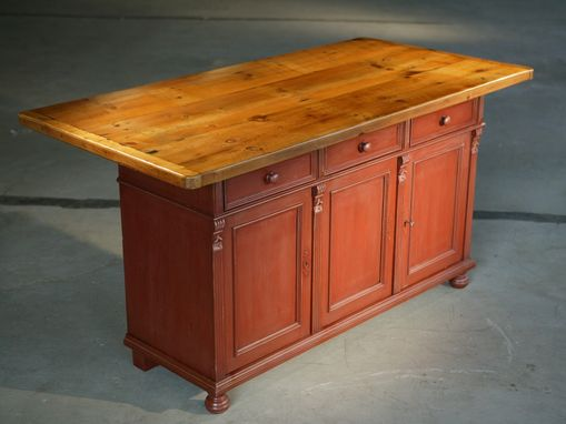 Custom Made European Sideboard In Barn Red With 6ft Table Top Fruitwood