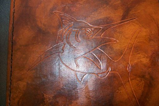 Custom Made Custom Leather Mouse Pad With Marlin Design And In Weathered Color