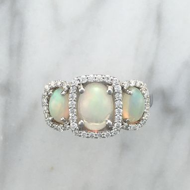 Custom Made 3 Opal Engagement Ring Set In 18k White Gold With Accent Diamonds