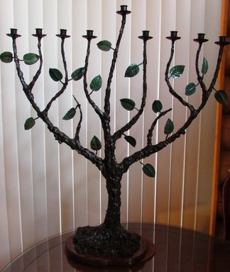 Custom Made Menorah Large 9 Branch Tree Of Life Original Art By Shawn Tyler Judaica מאַנאָראַ