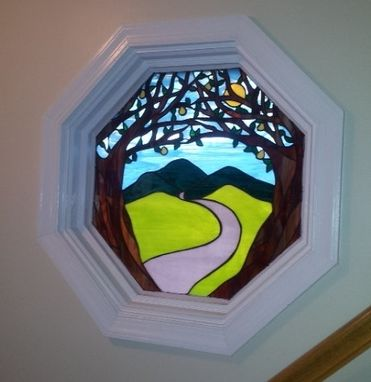 "Custom Made Stained Glass Window - ""The Path To Happiness"" (W-52)"