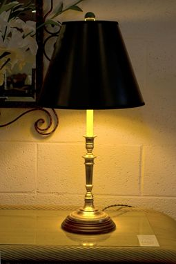Custom Made Pair Of Brass Candlestick Lamps