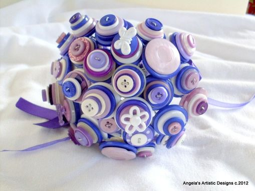 Custom Made Purple Buttons Bridal Bouquet In Set Of Two