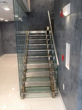 Custom Made Condominium Lobby Glass Staircase, Hoboken, Nj