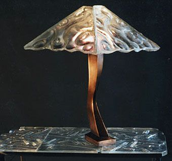 Custom Made Bronze Table Lamp, Cast Glass Shade