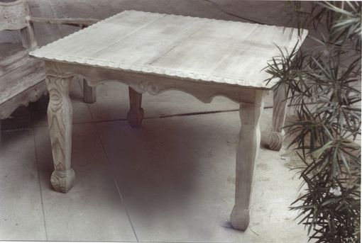 Custom Made Hand-Carved Redwood Outdoor Table