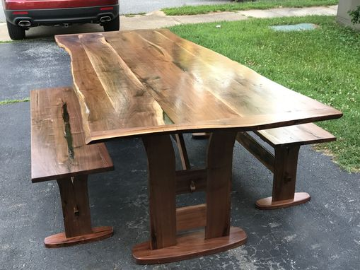 Custom Made Natural Edge Solid Walnut Dining Table