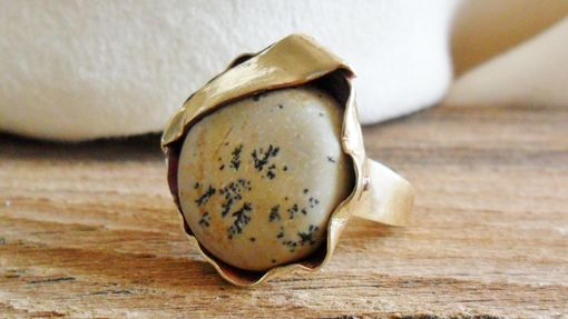 Custom Made Ruffled Brass Ring With Painted Jasper Stone