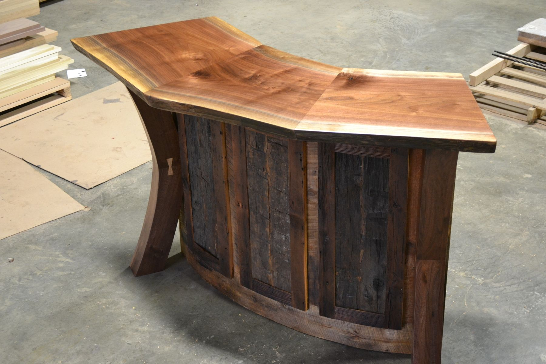 Custom Made Live Edge Walnut And Reclaimed Curved Bar Reception Desk