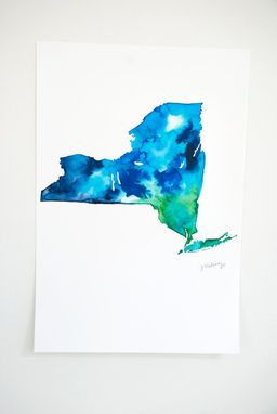Custom Made New York State Map Watercolor Print