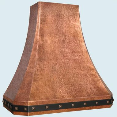 Custom Made Copper Range Hood With Black Steel Strap & Hammering