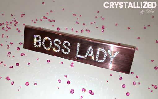 Custom Made Crystallized Rose Gold Boss Lady Mini Bling Desk Plaque Made With Swarovski Crystals