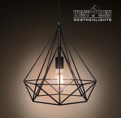 Custom Made Westmenlights Industrial Diamond Shade Wrought Iron Pendant Hanging Light Edison Lamp