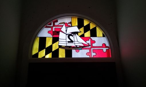 "Custom Made Stained Glass Address Marker - ""Baltimore Clipper Ship"" (Am-171)"