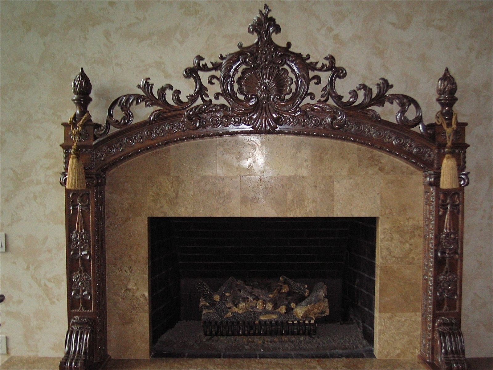 Hand made carved fireplace mantel by hercules custom furniture inc custom made carved fireplace mantel teraionfo