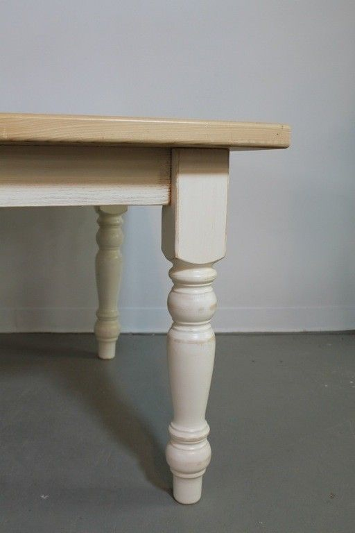 Handmade Old Oak Farm Table With White Legs By