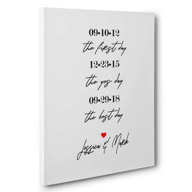 Custom Made Simple Love Timeline Personalized Love Gift Canvas Wall Art