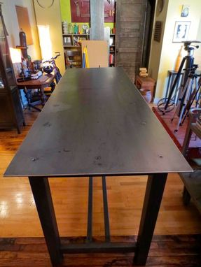Custom Made Community Table – Traditional Trestle Style Table In Steel