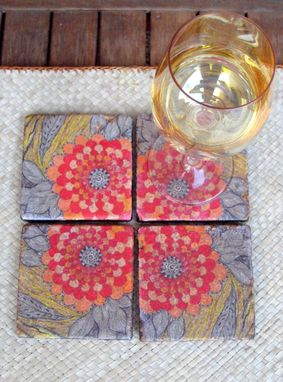 Custom Made Tile Coasters Handmade Poppy Design -Set Of 4 Orange Red Yellow
