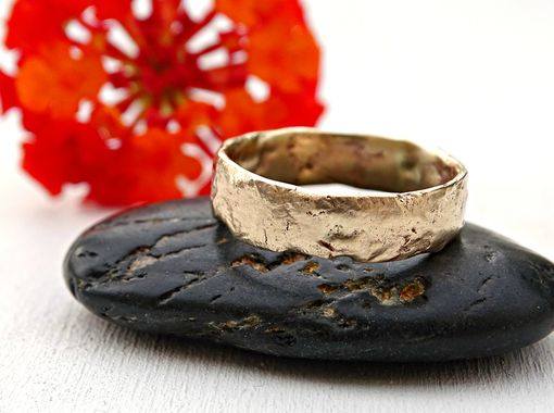 Custom Made Gold Wedding Band Unique Engagement Ring, Molten Wedding Ring Gold, Cool Mens Wedding Band