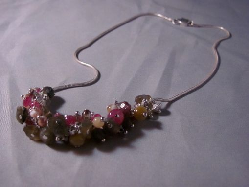 Custom Made Sterling Silver Snake Chain W/Ruby Rondelle Beads