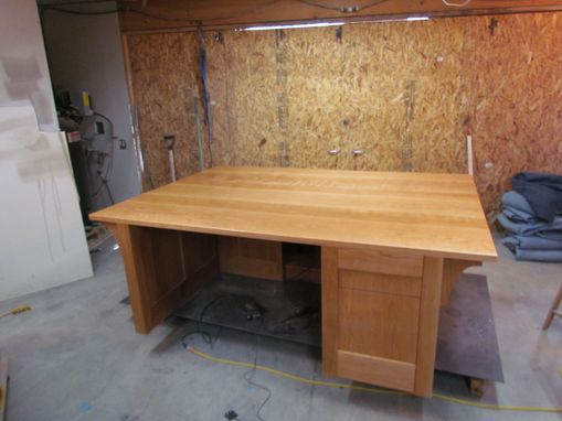 Custom Made Solid Cherry Desk With Remote Controlled Monitor Lift