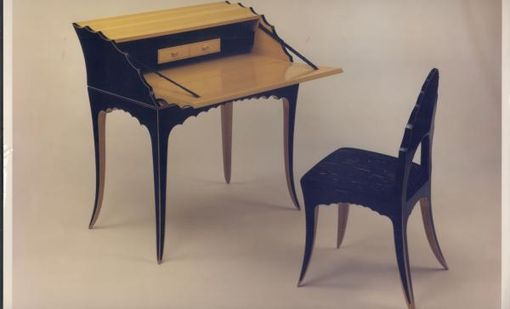 Custom Made Tiger Swallow Tail Desk And Chair Set