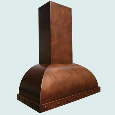 Custom Made Copper Range Hood With Decorative Clavos