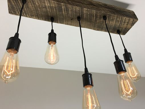 Custom Made Reclaimed Barn Timber Beam Light Fixture With Hanging Edison Bulbs