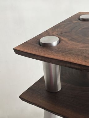 Custom Made Contemporary Live Edge Walnut Side Table - 2-Tiered Natural Stacked Shelf With Brushed Aluminum Legs