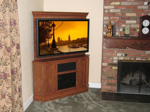 hand crafted custom corner oak tv stand entertainment